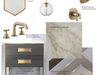 Brushed brass accents and warm gray tones for your bathroom makeover.