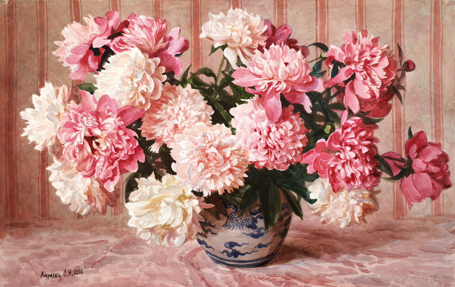Pink and red peonies, 2006