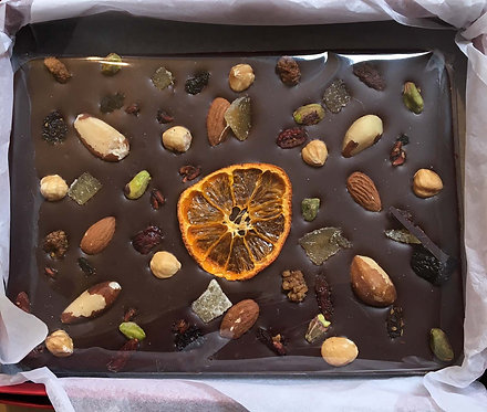 TO ORDER:                Sharing Slab.  70% Chocolate with Fruit & Nuts. Boxed