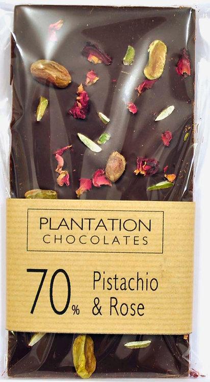 70% Dark Chocolate & Pistachio & Rose