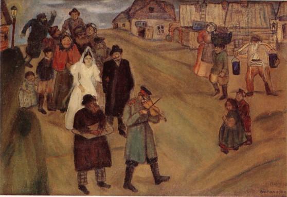 シャガール《ロシアの結婚式》1909年
