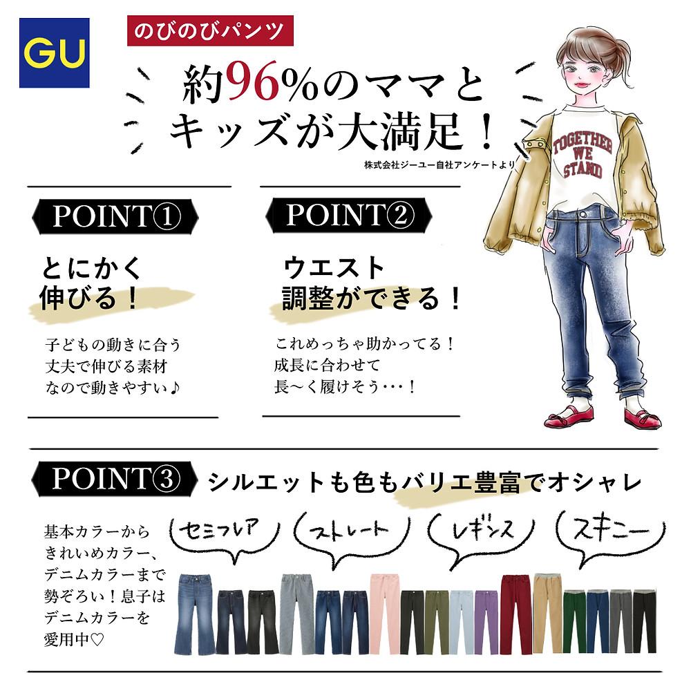 株式会社GU様「のびのびキッズパンツ」シリーズ