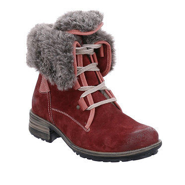 Warm faux fur-lined ankle boot finished is soft distressed suede leather
