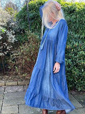 Denim Dress with Tassels
