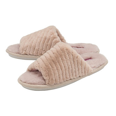 Dunlop Phoebe Ladies Memory Foam Faux Fur Lined Slip On Mule Slippers