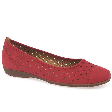 Gabor 44.169.15 Ruffle Ladies Punched Detail Casual Shoes Red