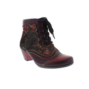 RIEKER Y7213-34 LADIES RED COMBINATION ANKLE BOOTS