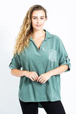 Corduroy One Pocket Cotton Shirt