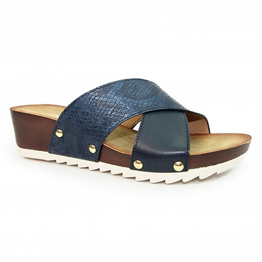 Lunar JLH 176 GR Globe Low Wedge Mule Sandal Blue