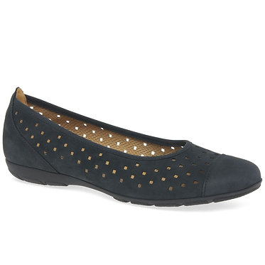 Gabor 44.169.16 Ruffle Ladies Punched Detail Casual Shoes Midnight Blue