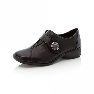 Rieker L3870  Ladies Black Shoes With Hook and Loop Fastening Strap