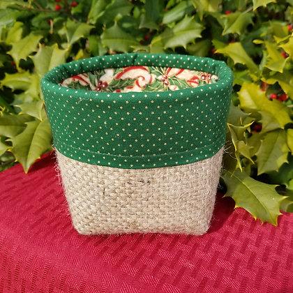 Green Holly Ribbons mini basket