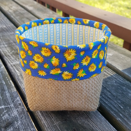 Sunflowers & Stripes mini basket