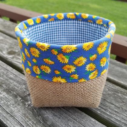 Sunflowers & Checks mini basket