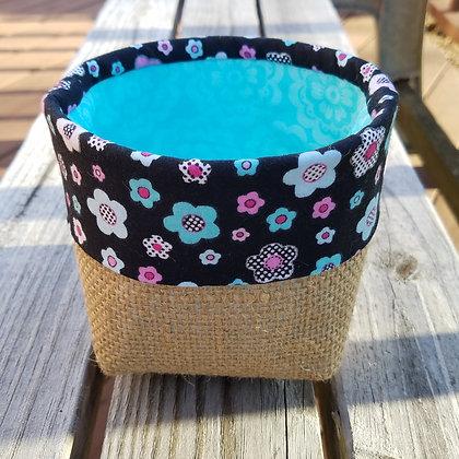 Black floral trim/Aqua mini basket
