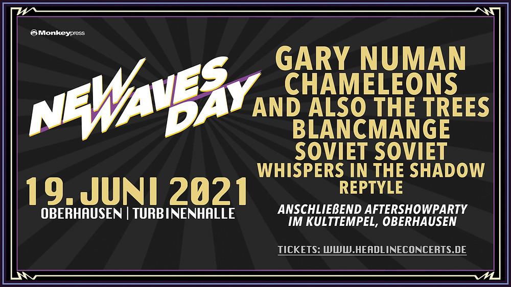 """New Wave Gothic Fans aufgepasst! Die Genre-Ikonen Gary Numan und Chameleons spielen am 19.6.2021 live auf dem """"New Waves Day 2021"""" in Oberhausen."""