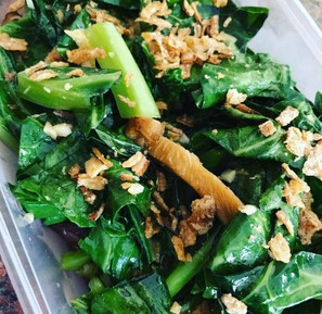 Stir fried spring greens with ginger, garlic, oyster sauce (optional) and dried shitake muchrooms