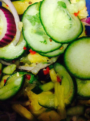 Cucumber and red onino salad
