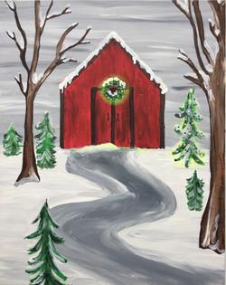 Snowy Red Barn Sample