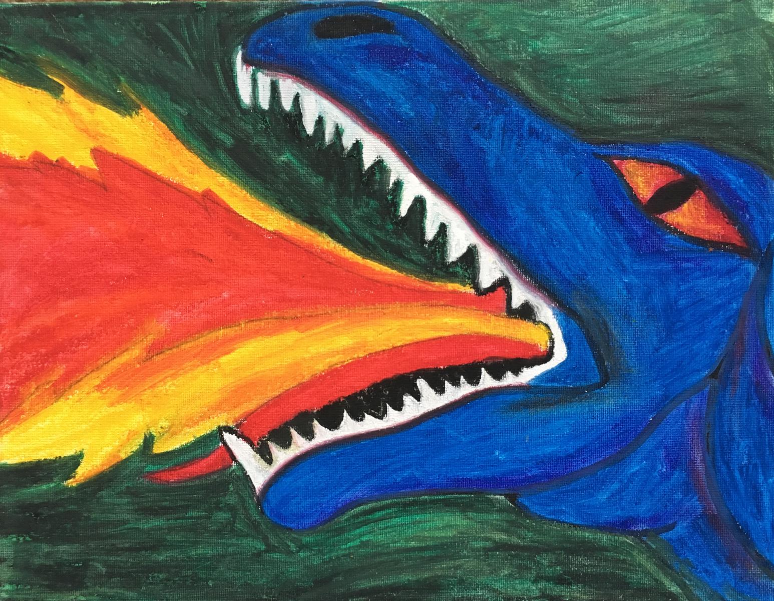 Dragon in Oil Pastel
