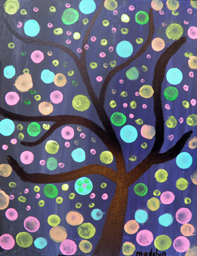 Tree At Night Painting