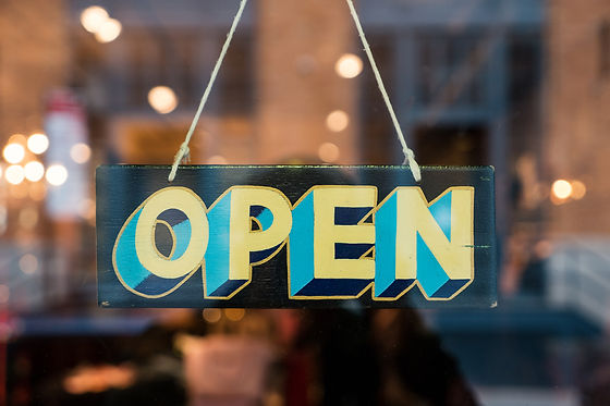 Open vintage wooden sign broad through t