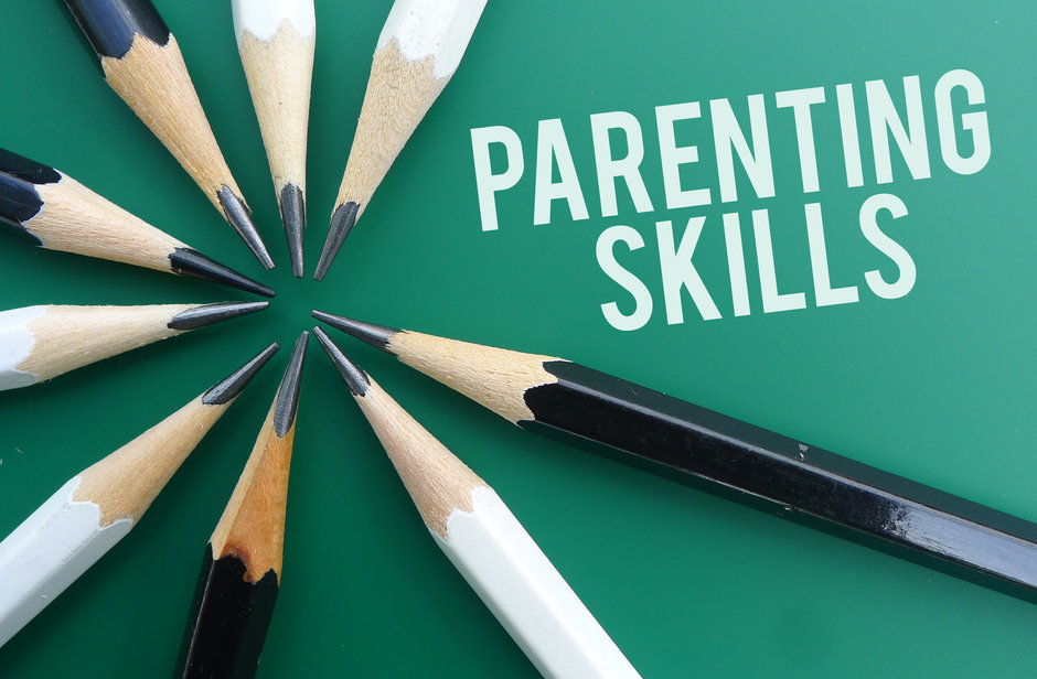 Parenting skills text memo written on a