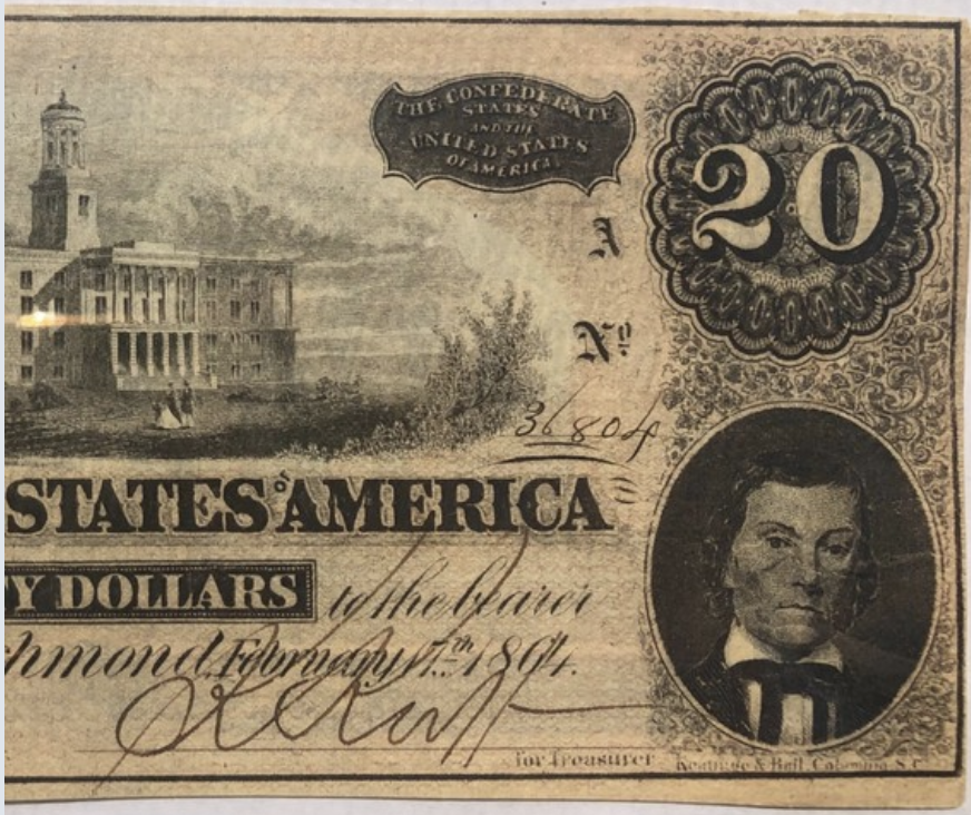 1864 Confederate $20 bill