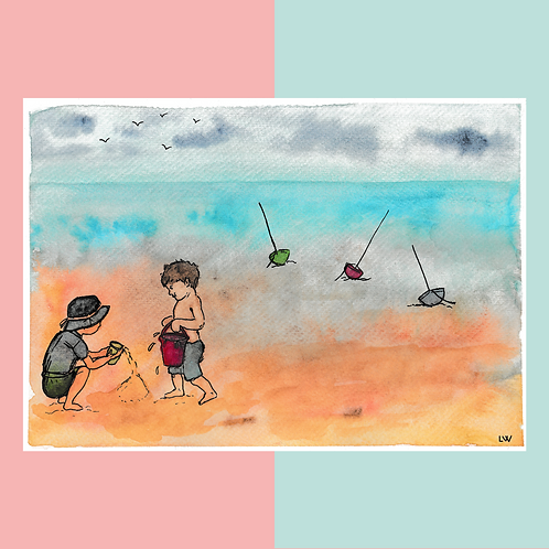 "Aquarelle ""Bain de mer"""