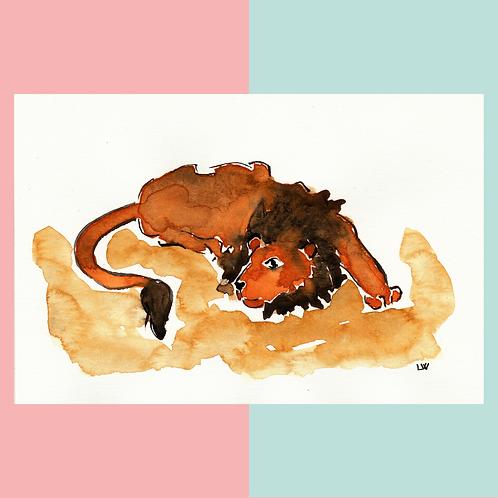 """Aquarelle """"Lion"""""""