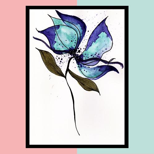 """Aquarelle """"Fleur d'encre"""""""