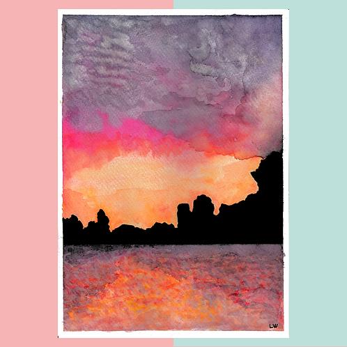 """Aquarelle """"Crépuscule"""""""