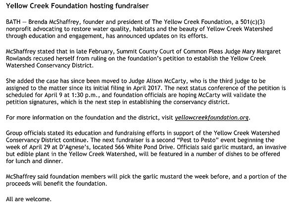 Yellow Creek Foundation hosting fundrais