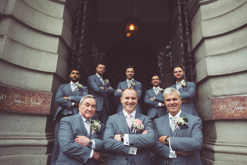 Groom & Ushers all together on the steps of 30 James Street