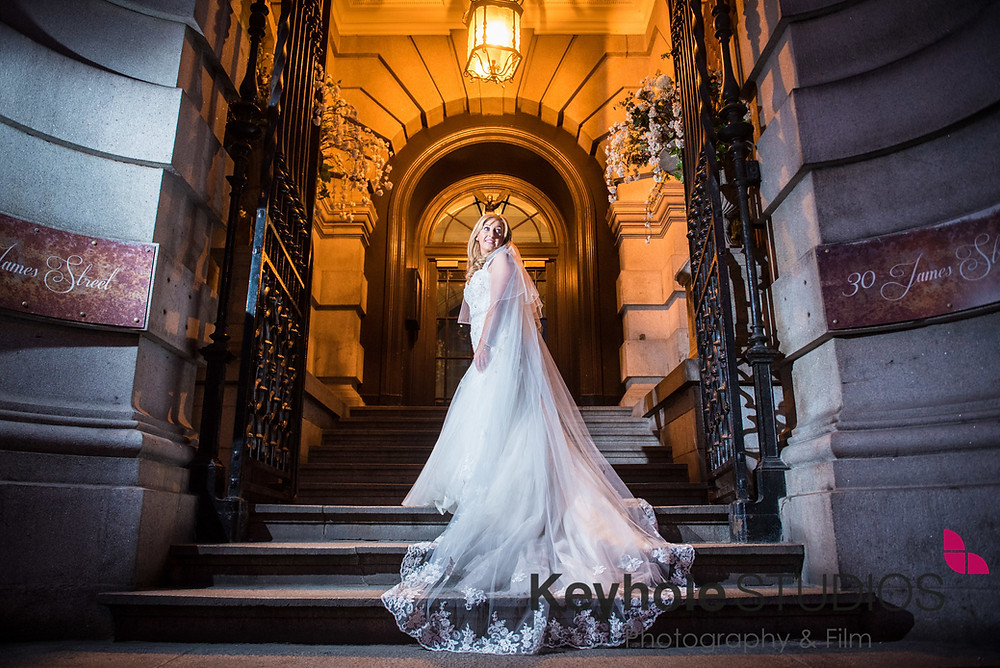 Wedding photograph taken by Keyhole Studios wedding photography & film  outside 30 James Street.