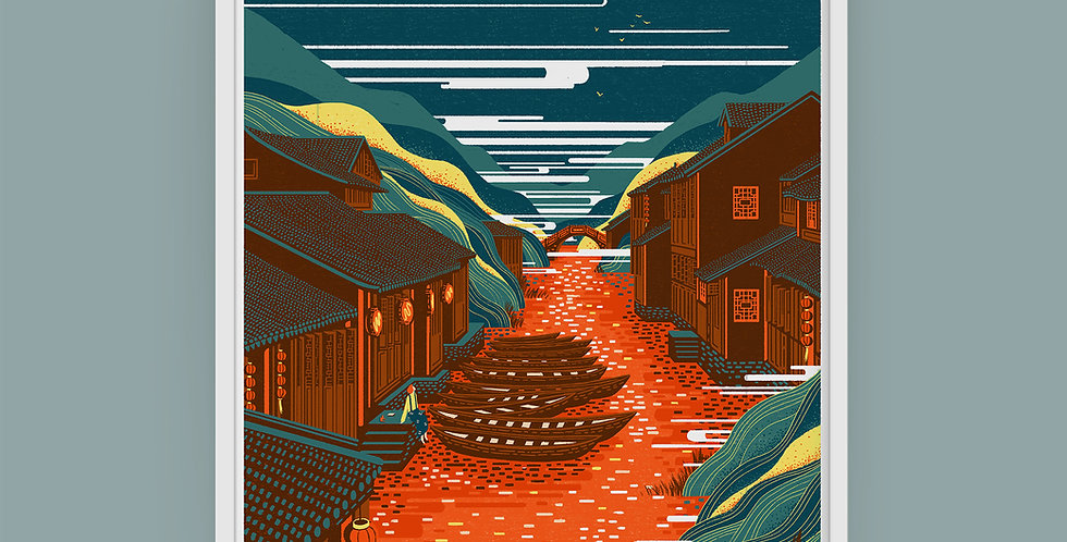 Chinese Landscape #2 Illustration Giclée Art Print