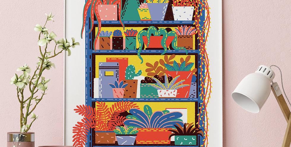 Shelving Unit #2 Illustration Giclée Art Print