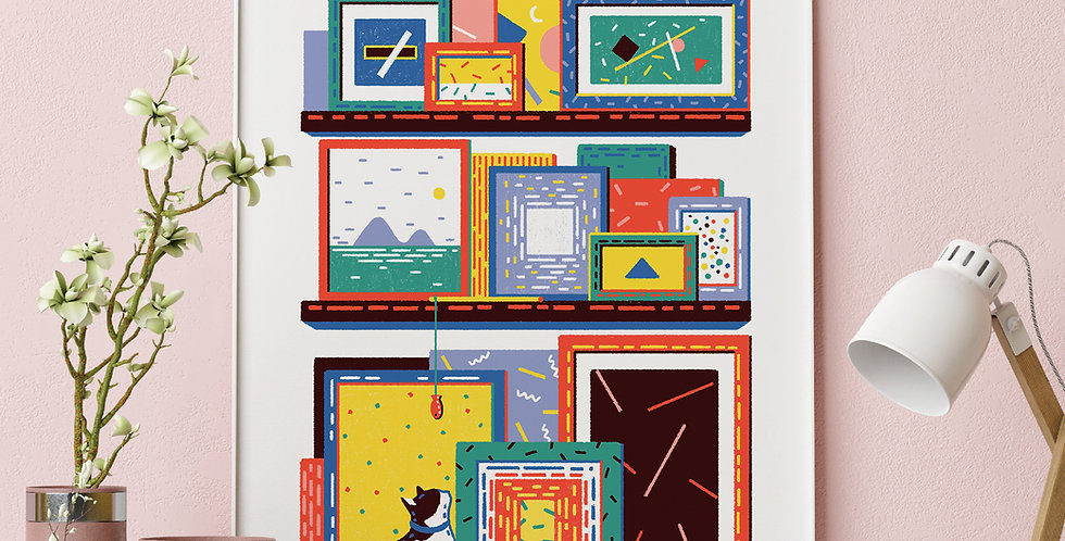 Shelving Unit #5 Illustration Giclée Art Print