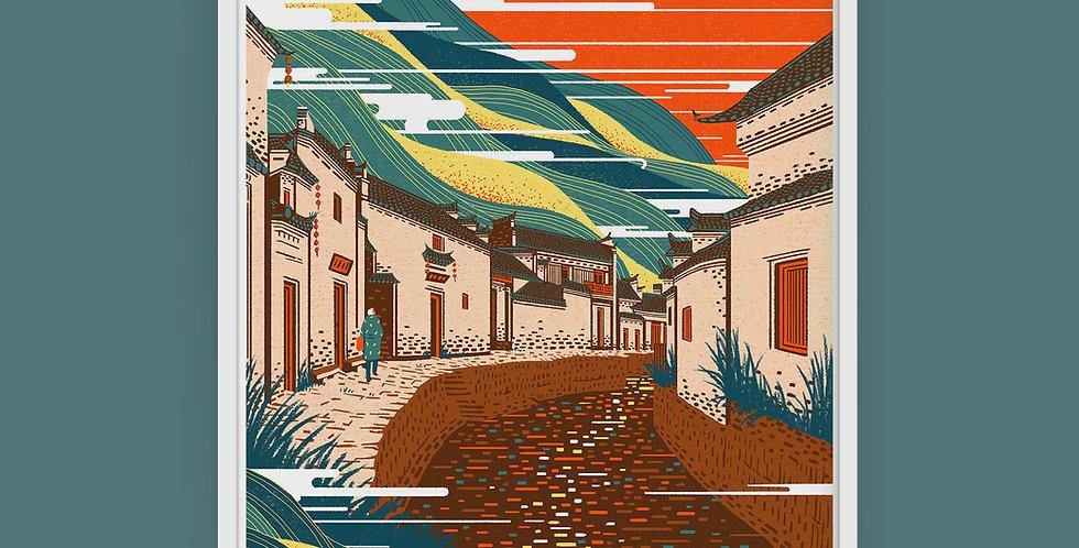 Chinese Landscape #4 Illustration Giclée Art Print