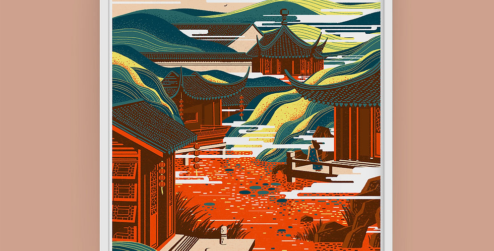 Chinese Landscape #1 Illustration Giclée Art Print