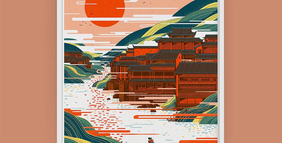 Chinese Landscape #3 Illustration Giclée Art Print