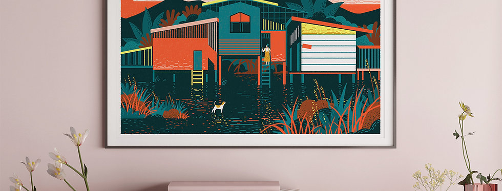 Floating House #1 Illustration Giclée Art Print