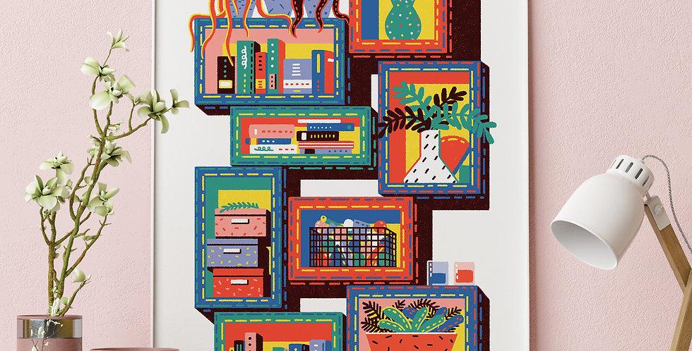 Shelving Unit #3 Illustration Giclée Art Print