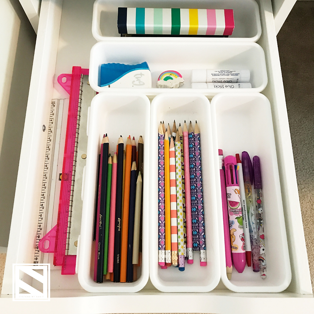 Organizing supplies in Target drawer dividers