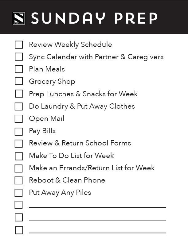 Sunday Prep Checklist Printable