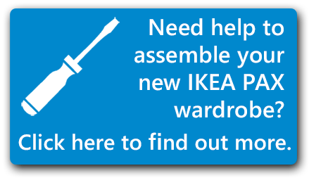 screwdriver image and text (need helo to assemble your new IKEA Pax wardrobe? Click here to find out more.)
