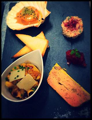 le clos lupin : Quadrilogie Terre et Mer : Foie gras, Raviole Porcelet, Tartare de Tourteaux et Soufflé de crevettes