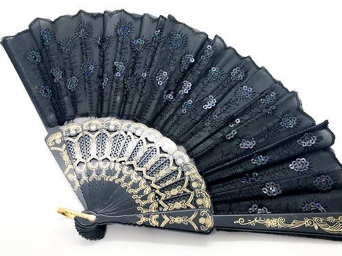 Black Sequin Lace Hand Fan