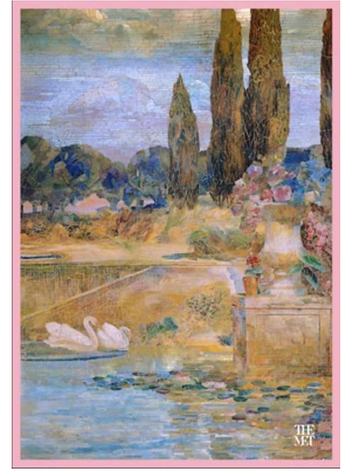 Louis C. Tiffany 'Garden Landscape' Tea Towel