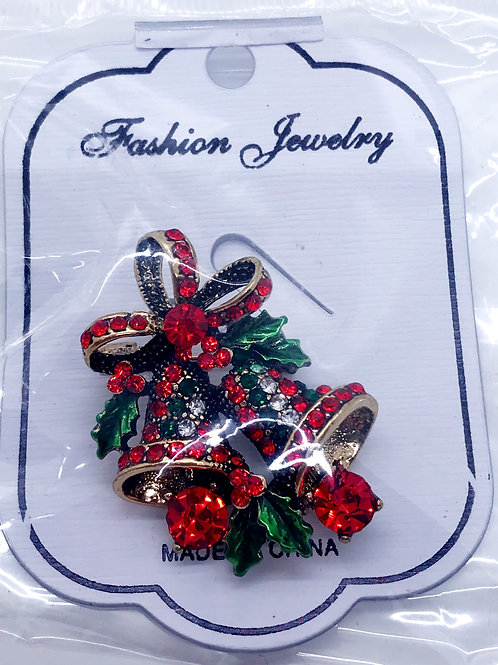 Holiday Bells Rhinestone Brooch